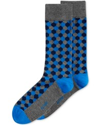 Alfani Hexagon Crew Socks Only At Macy's Dark Turqoise Grey Navy