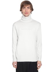 Ambush Logo Embossed Wool Turtle Neck Knitwear White