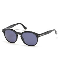 Tom Ford Newman Round Shiny Acetate Sunglasses Black C00