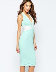 Hedonia Pixie Body Conscious Midi Dress With Halterneck Mint