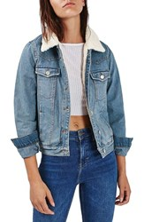 Topshop Women's Denim Jacket With Faux Shearling Lining