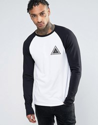 Asos Muscle Raglan Long Sleeve With City Triangle Chest Print White Black