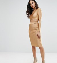 Naanaa Midi Skirt With Cut Out Co Ord Gold