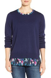 Nydj Women's Layered Look Sweater Dazzling Butterflies