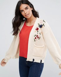 Amy Lynn Cardigan With Floral Embroidery And Pocket Detail Cream