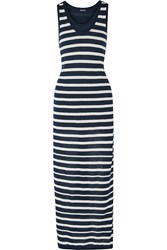 Splendid Striped Cotton Jersey Maxi Dress Blue