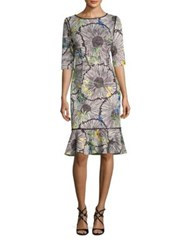 Rickie Freeman For Teri Jon Scuba Printed Dress Multi