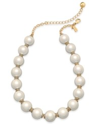 Kate Spade New York Rose Gold Tone Pink Imitation Pearl Collar Necklace Cream Multi