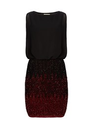 Lace And Beads Sleeveless Blouson Top Ombre Sequin Skirt Dress Burgundy