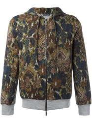 Etro Floral Print Zipped Hoodie Green