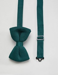 Asos Design Knitted Bow Tie In Forest Green