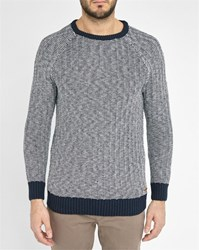 Knowledge Cotton Apparel Navy White Knit Round Neck Sweater