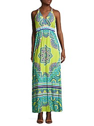 Hale Bob Printed Cover Up Maxi Dress Blue Multicolor