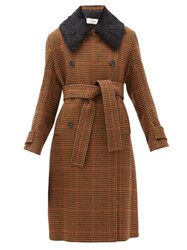 Wales Bonner Double Breasted Houndstooth Wool Blend Coat Brown Multi