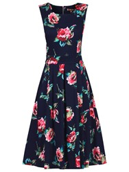 Jolie Moi Retro Print 50S Dress Navy