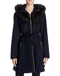 Laundry By Shelli Segal Fur Hood Fit And Flare Coat Navy
