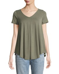 Casual Couture V Neck Draped Tee Olive