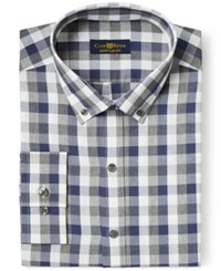 Club Room Estate Wrinkle Resistant Navy And Grey Gingham Dress Shirt Only At Macy's Navy Grey