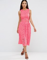 Ax Paris Sleeveless Lace Midi Dress With Cut Out Middle Coral Pink
