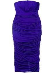Tom Ford Ruched Bandeau Dress Pink And Purple