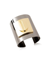 Pluma Two Tone Large Viti Brass Cuff In Fumoso Gray