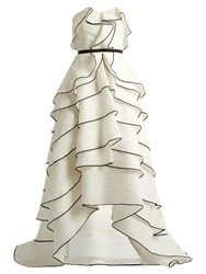 Oscar De La Renta Tiered Ruffled Floral Cloque Gown White