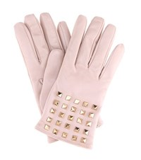 Valentino Rockstud Cashmere Lined Leather Gloves Pink