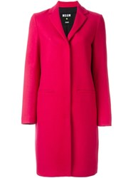 Msgm Concealed Button Coat Pink And Purple