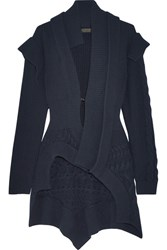 Burberry Cable Knit Paneled Ribbed Wool And Cashmere Blend Cardigan Navy
