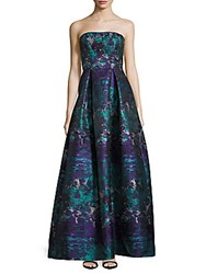 Theia Strapless Brocade Gown Teal