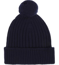 Johnstons Ribbed Cashmere Pom Pom Beanie British Blue