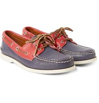 Quoddy Downeast Two Tone Leather Boat Shoes Navy