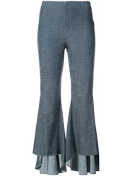 Alice Olivia Ruffled Flared Trousers Women Linen Flax Polyester Lyocell 10 Blue