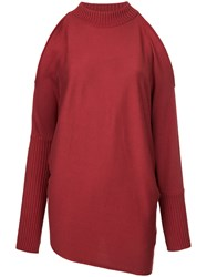 Aula Cold Shoulder Knitted Jumper Silk Cotton Rayon Red