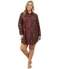 Lauren Ralph Lauren Plus Size Flannel Sleepshirt Addison Paisley Magenta Multi Women's Pajama Red