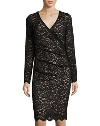 Nicole Miller Artelier Lace Long Sleeve V Neck Dress Black