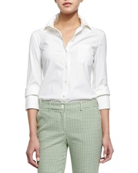 Michael Kors Double Cuff Button Blouse Optic White