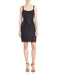Aidan Mattox Beaded Fringe Cocktail Dress Black