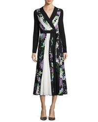 Diane Von Furstenberg Penelope Floral And Colorblock Silk Wrap Dress Black White Multicolor