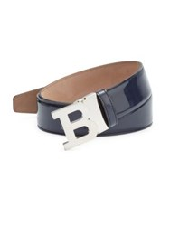 Bally Patent Leather B Buckle Belt Ink Blue