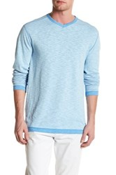 Tommy Bahama Seaglass Reversible V Neck Pullover Blue