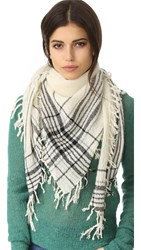 Madewell Triangle Plaid Scarf Heather Natural