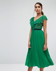 Three Floor Midi Dress With Pleated Skirt And Frill Detail Green