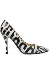 Moschino Printed Leather Pumps White