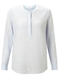 John Lewis Leonie Embroidered Top Blue