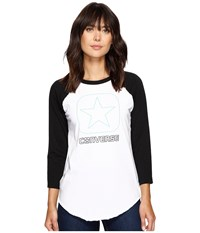 Converse Flocked Box Star Raglan Tee Vintage Grey Heather Women's T Shirt Gray