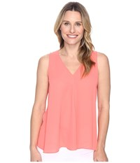 Vince Camuto Sleeveless V Neck Drape Front Blouse Coral Passion Women's Blouse Red
