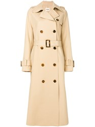 Khaite Cornelia Trench Coat Silk Cotton Nude Neutrals