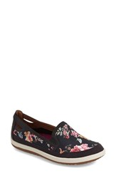 Women's Cobb Hill 'Zahara' Slip On Flat Black Floral Fabric