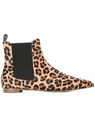 Twin Set Leopard Pointed Chelsea Boots Nude Neutrals